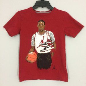 Jordan Boys M 10-12 Red Pixelated Graphic Tshirt